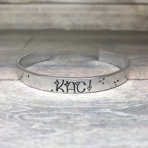 Polished or plain finished personalised hand stamped cuff bracelet