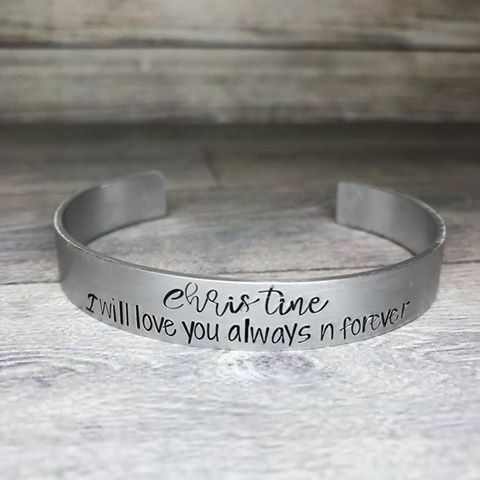 Matt or brushed finish personalised hand stamped cuff bracelet