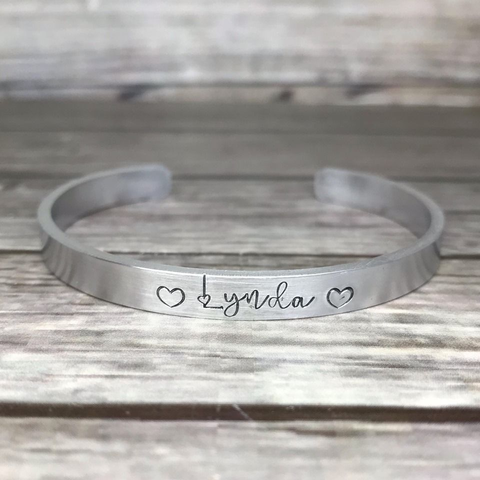 Aluminium cuff bracelet with hand stamped name