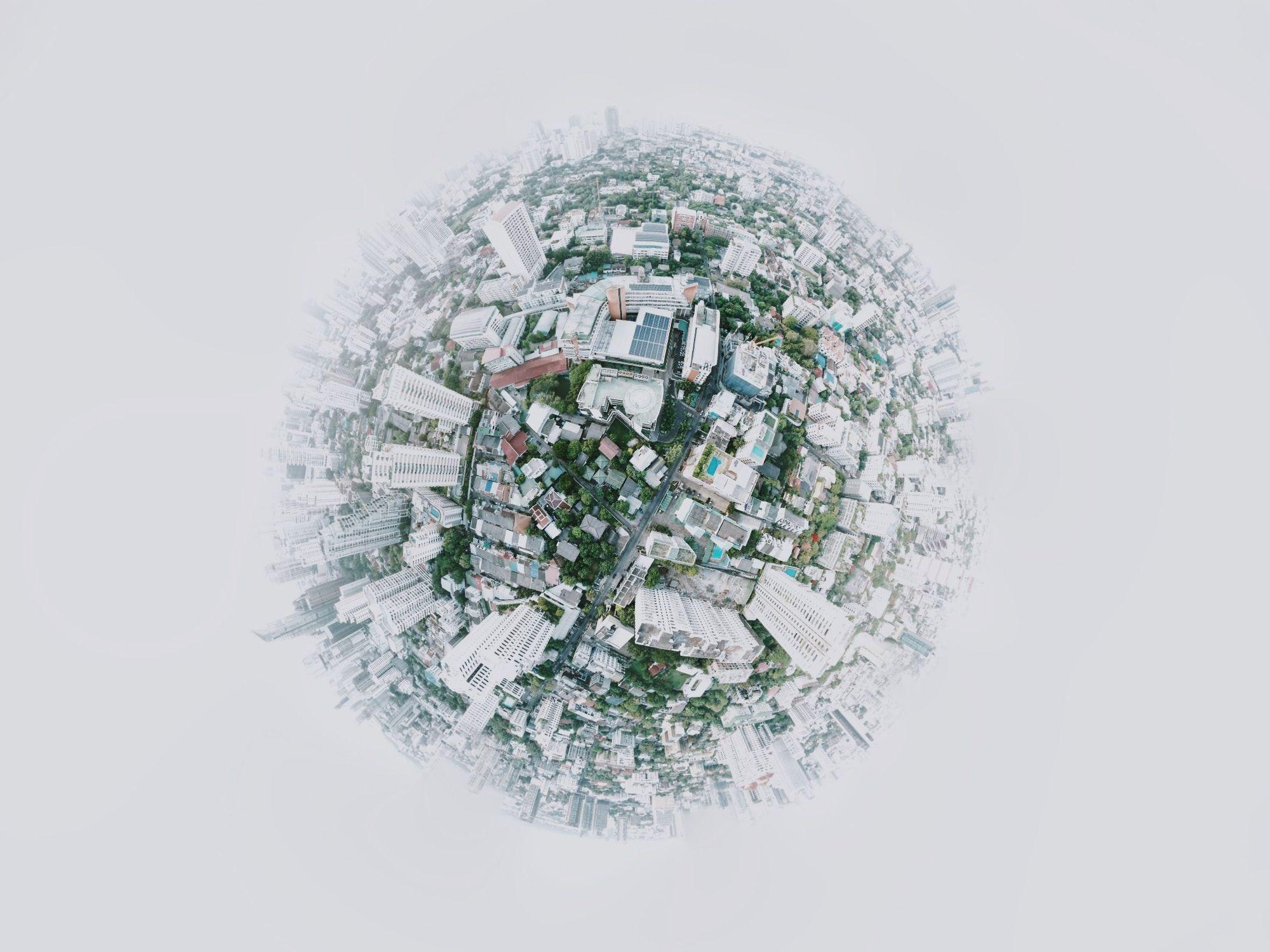 Globe of city buildings