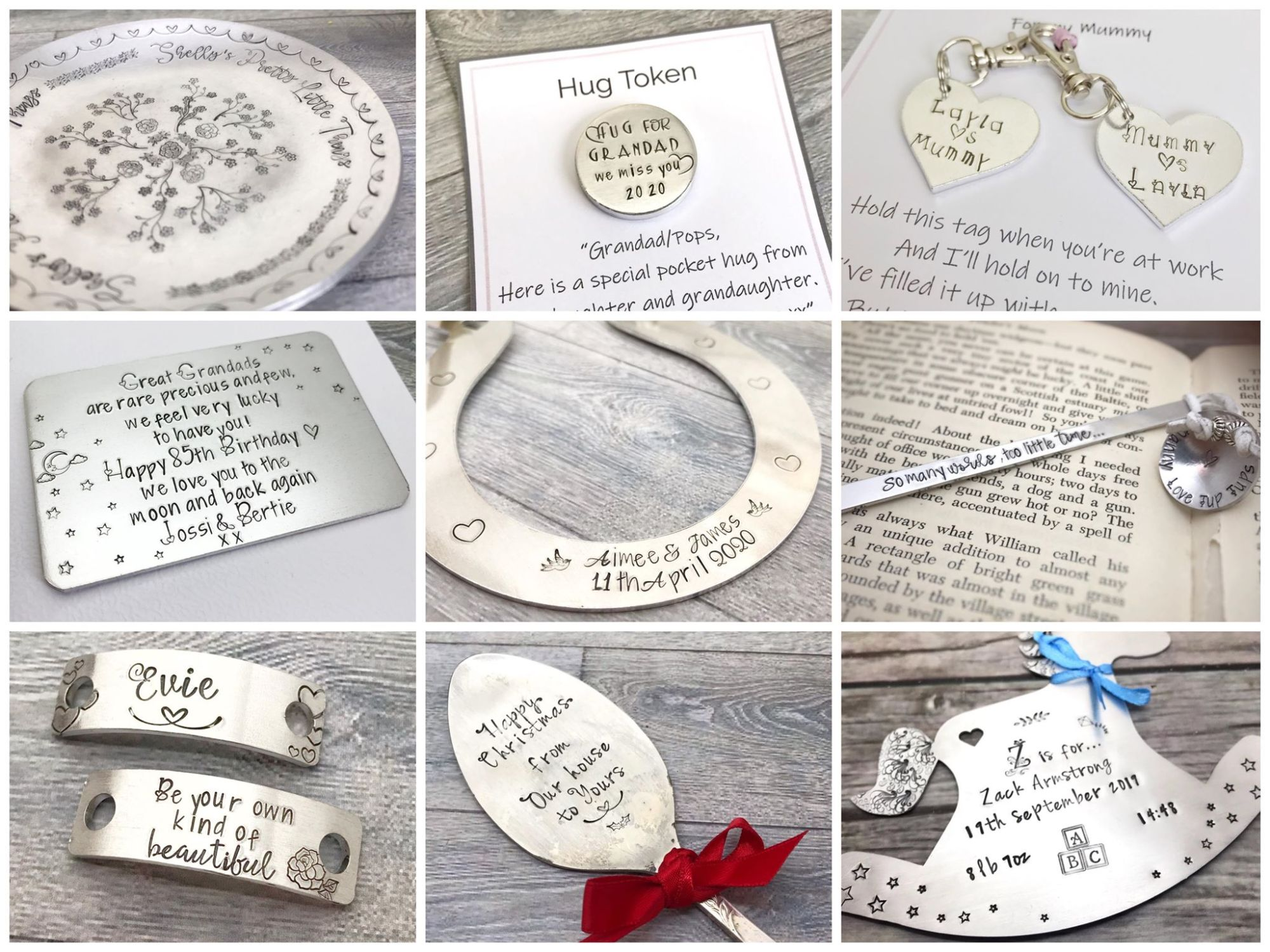 Grid of hand stamped and handmade personalised gifts including a wedding horseshoe, spoon, bookmark, baby gift and trinket dish