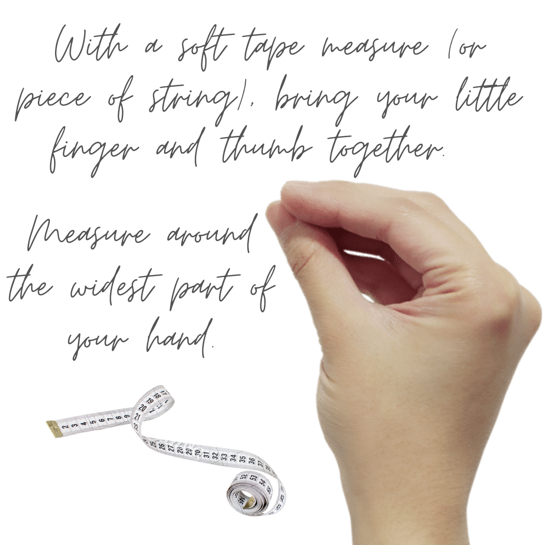 Hand showing how to measure for a bangle