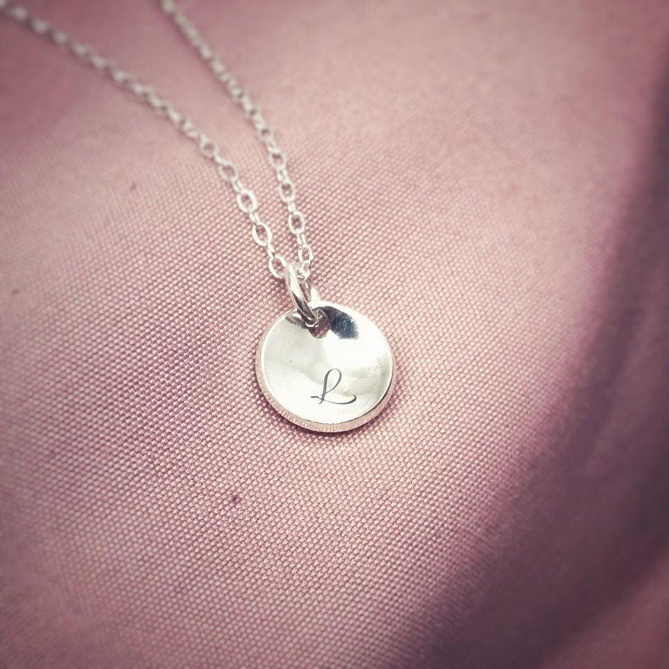 Silver Disc Necklace | Mini Moon | Celestial Collection