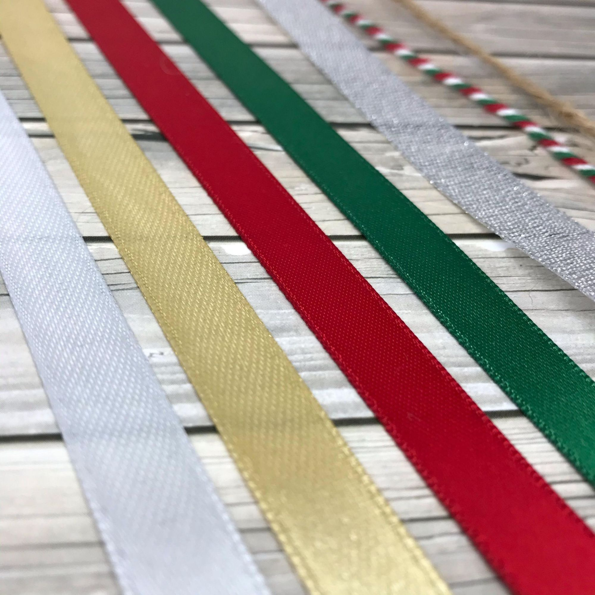 Gold, Silver, Red and Green Ribbon