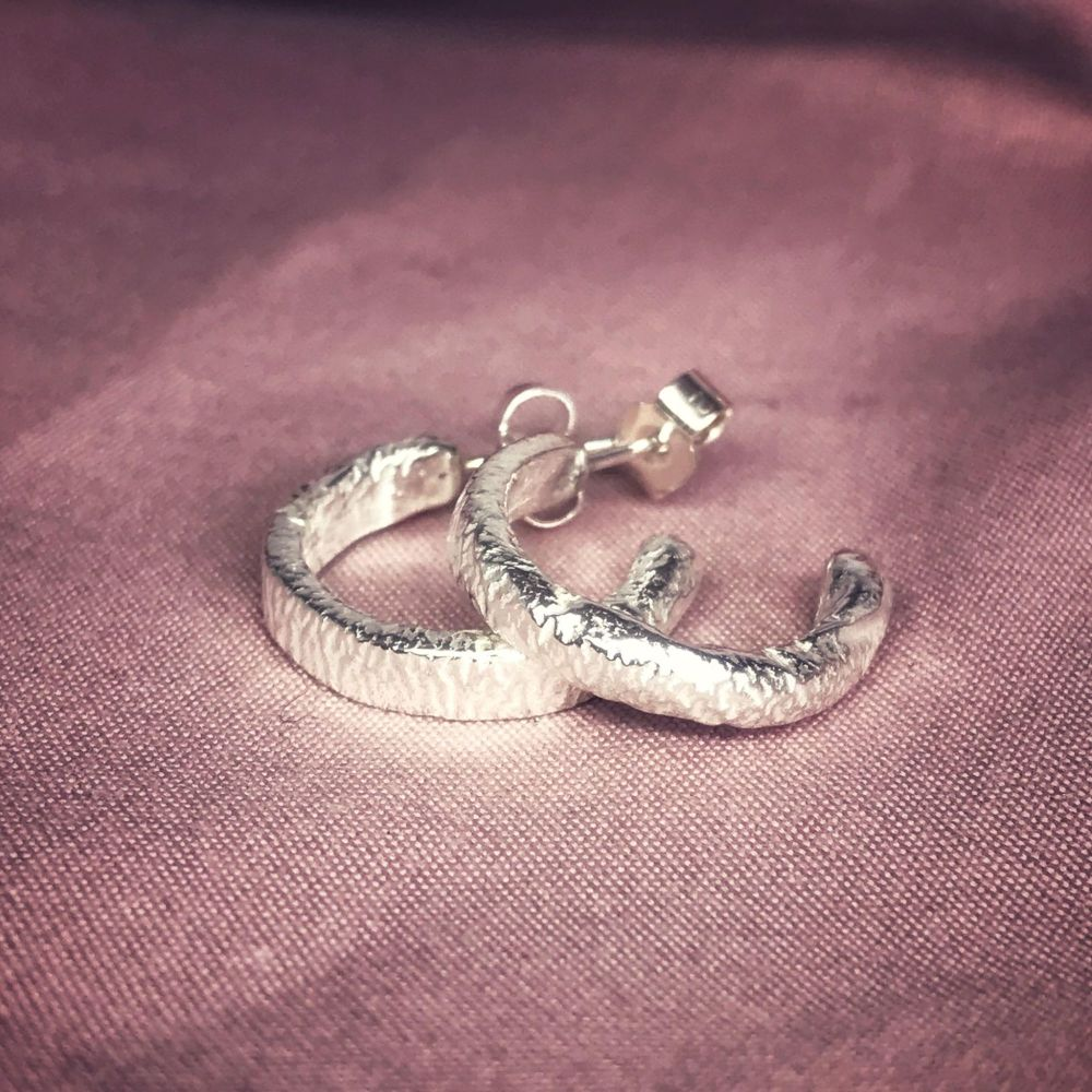 Silver Molten Hoop Earrings