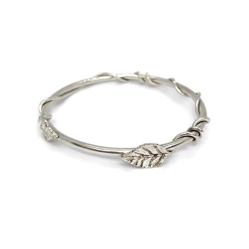 Handmade silver bangle with silver vine and leaves