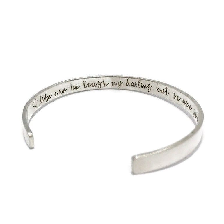 Handmade silver cuff bangle with message hand stamped inside