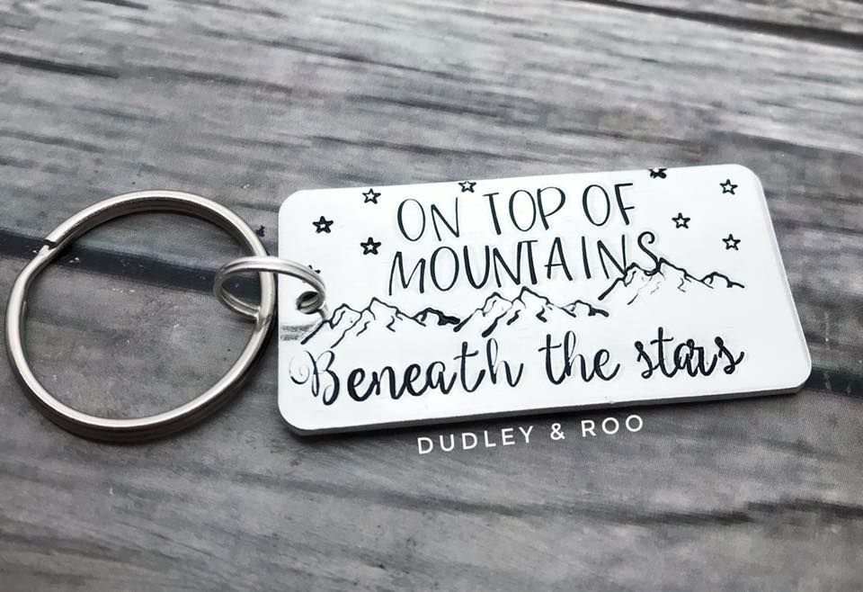 On Top of Mountains Keyring