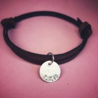 Leather Bracelet with Silver Disc