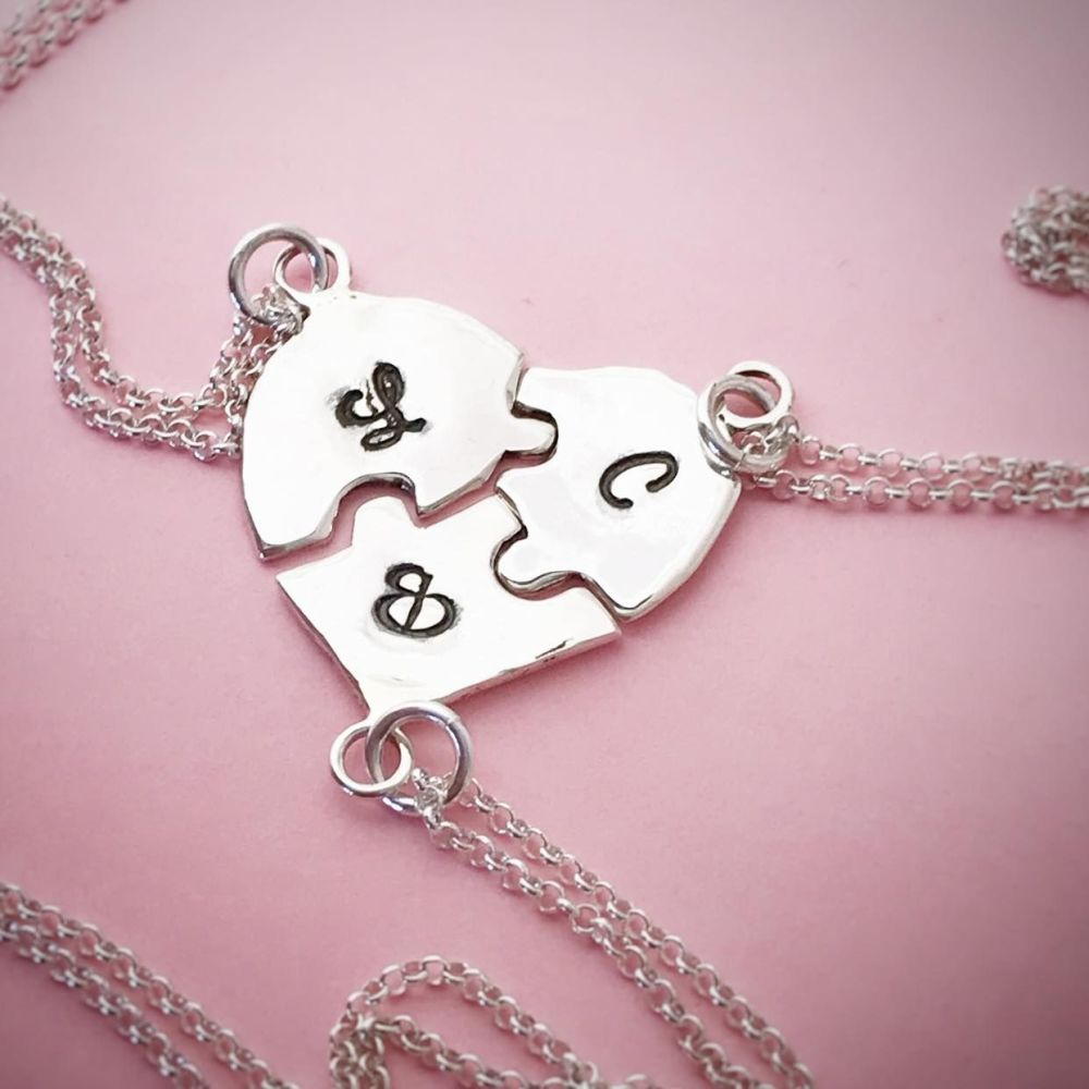 Sterling Silver Heart Jigsaw Necklace