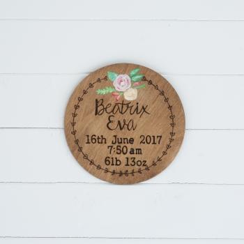 Birth Details Wall Plaque (Round)