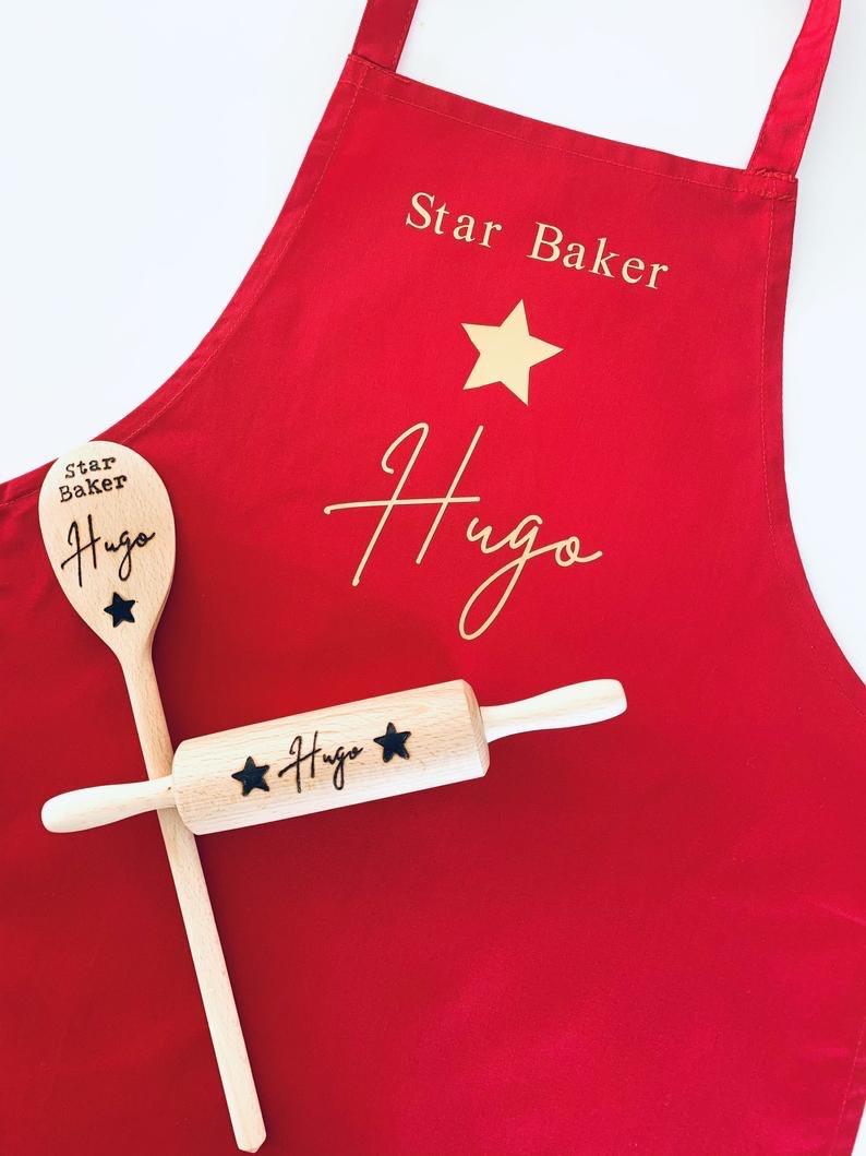 Personalised Children's Apron & Baking Utensils Set-Star Baker Design