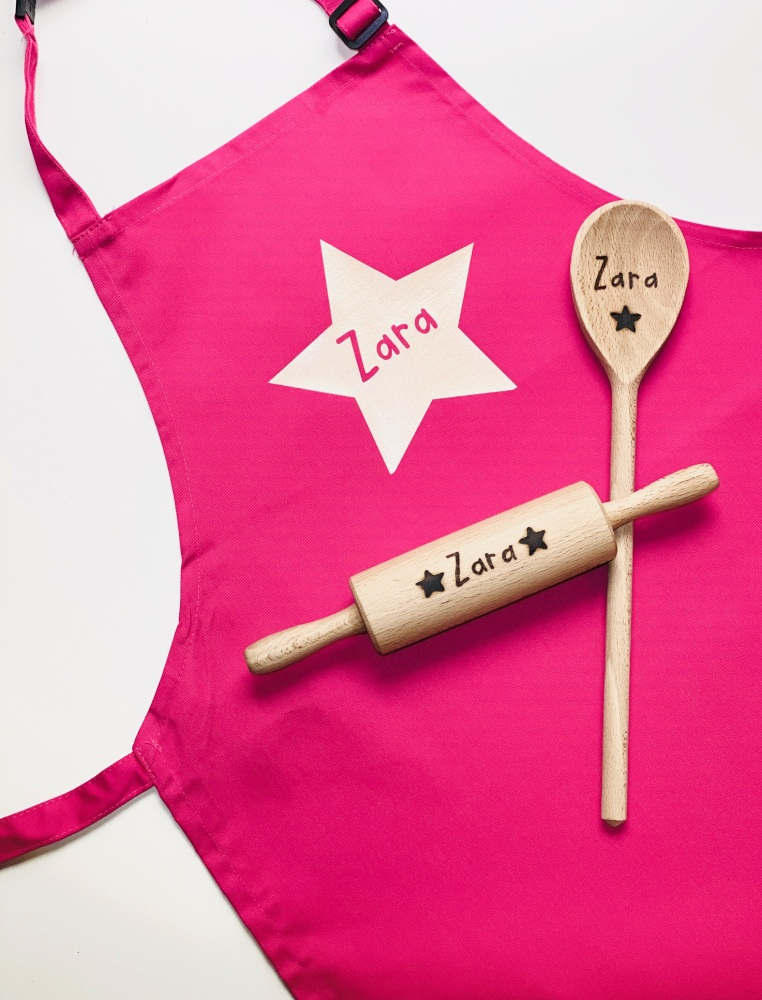 Personalised Children's Apron & Baking Utensils Set-Large Star Design