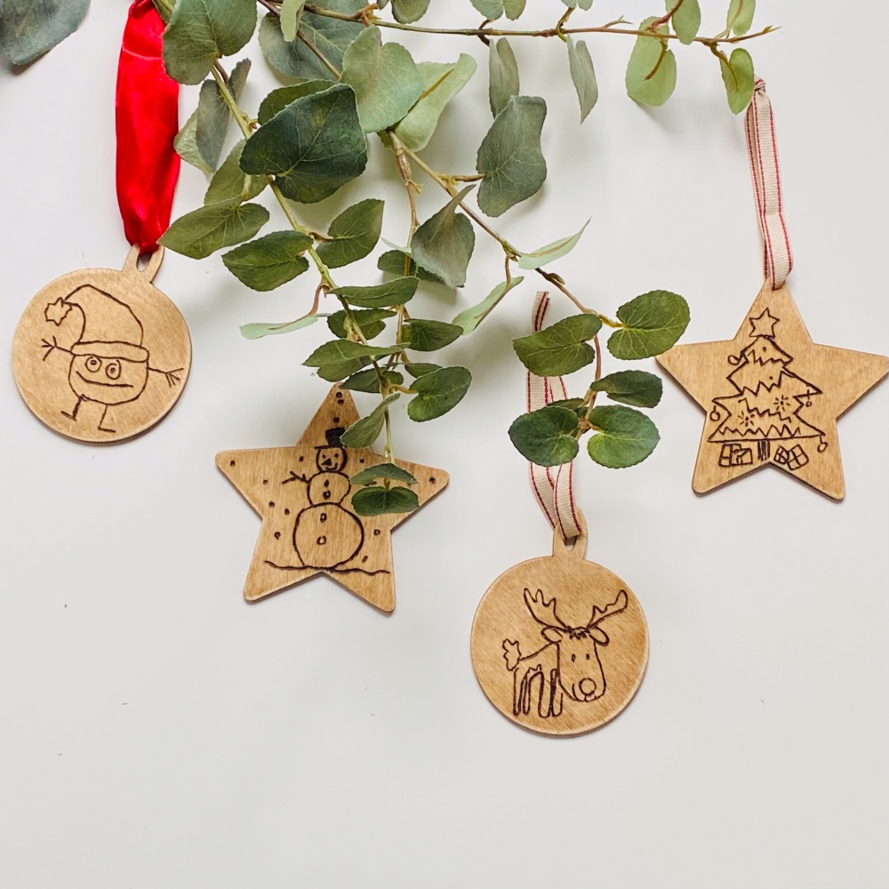 Christmas Decorations Personalised with child's drawing/handwriting