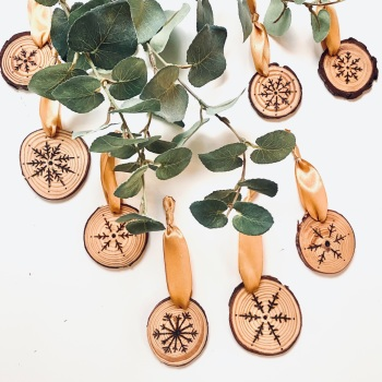Set of Three Snowflake Wood Slice Christmas Decorations