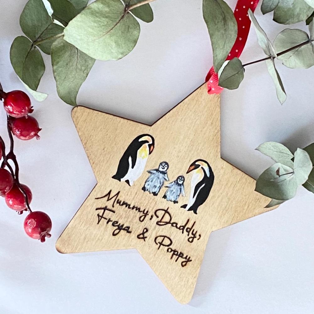 Personalised Penguin Family Christmas Decoration