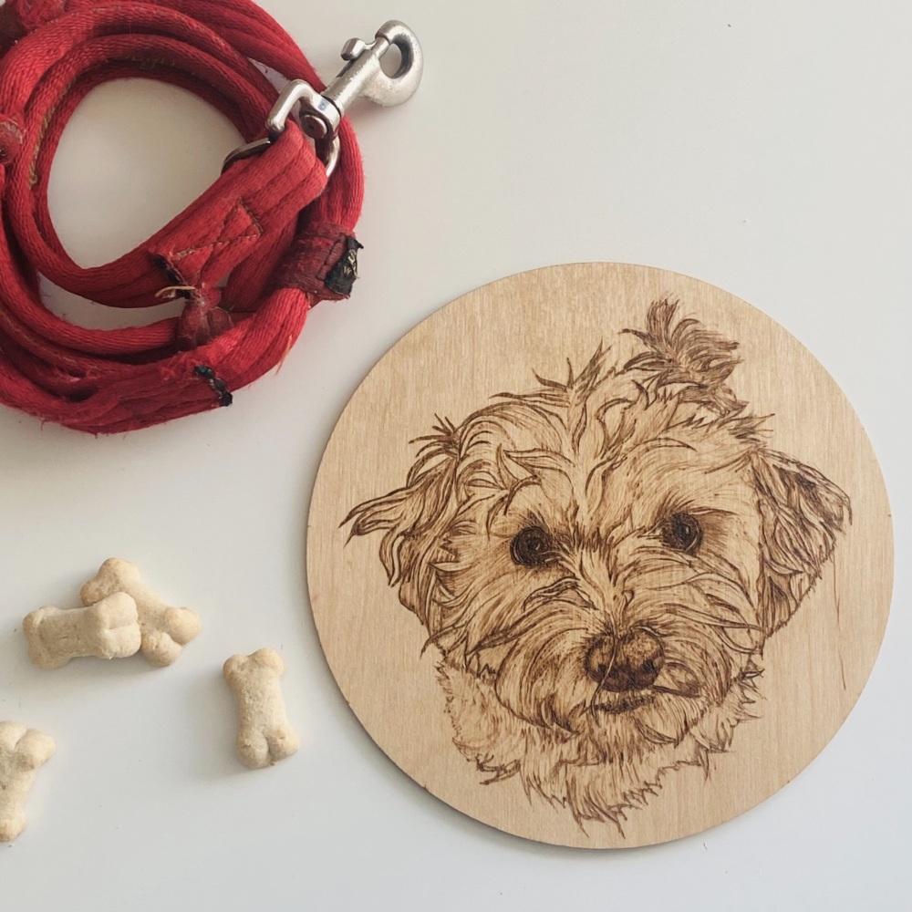 Custom pet portrait wall plaque