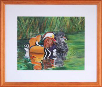 Mandarin Ducks Framed Painting