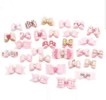 Pink Dog Bows on Bobble 10 qty