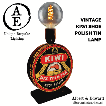 1950's Kiwi Shoe Polish Advertising Tin Lamp