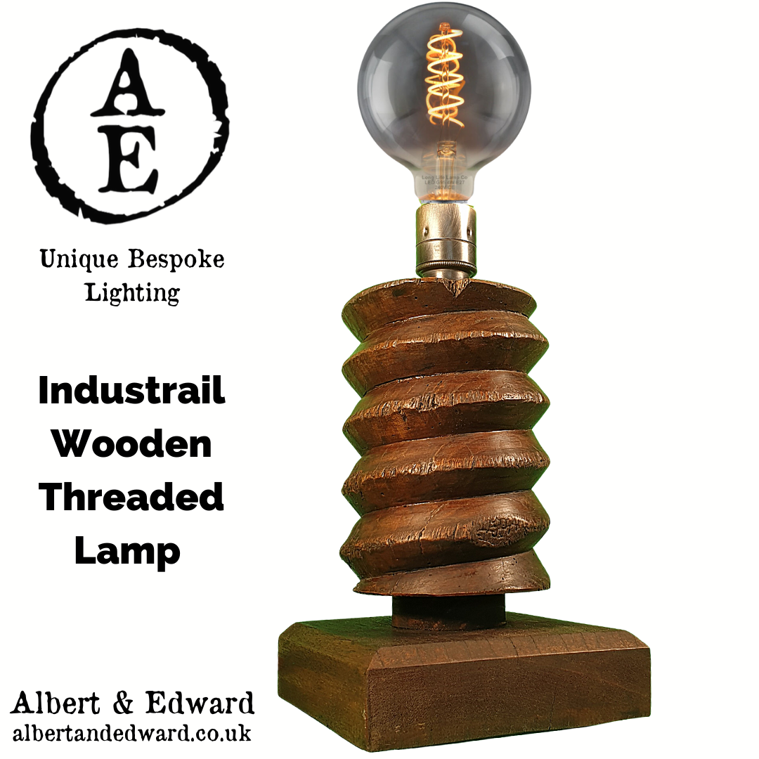 Industrial Wooden Threaded Lamp