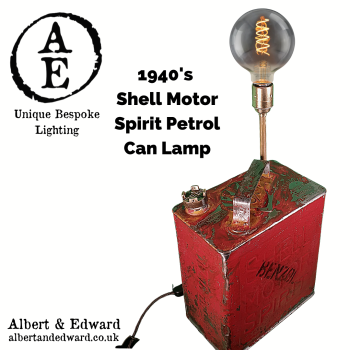1940's Shell Motor Spirit Petrol Can Lamp