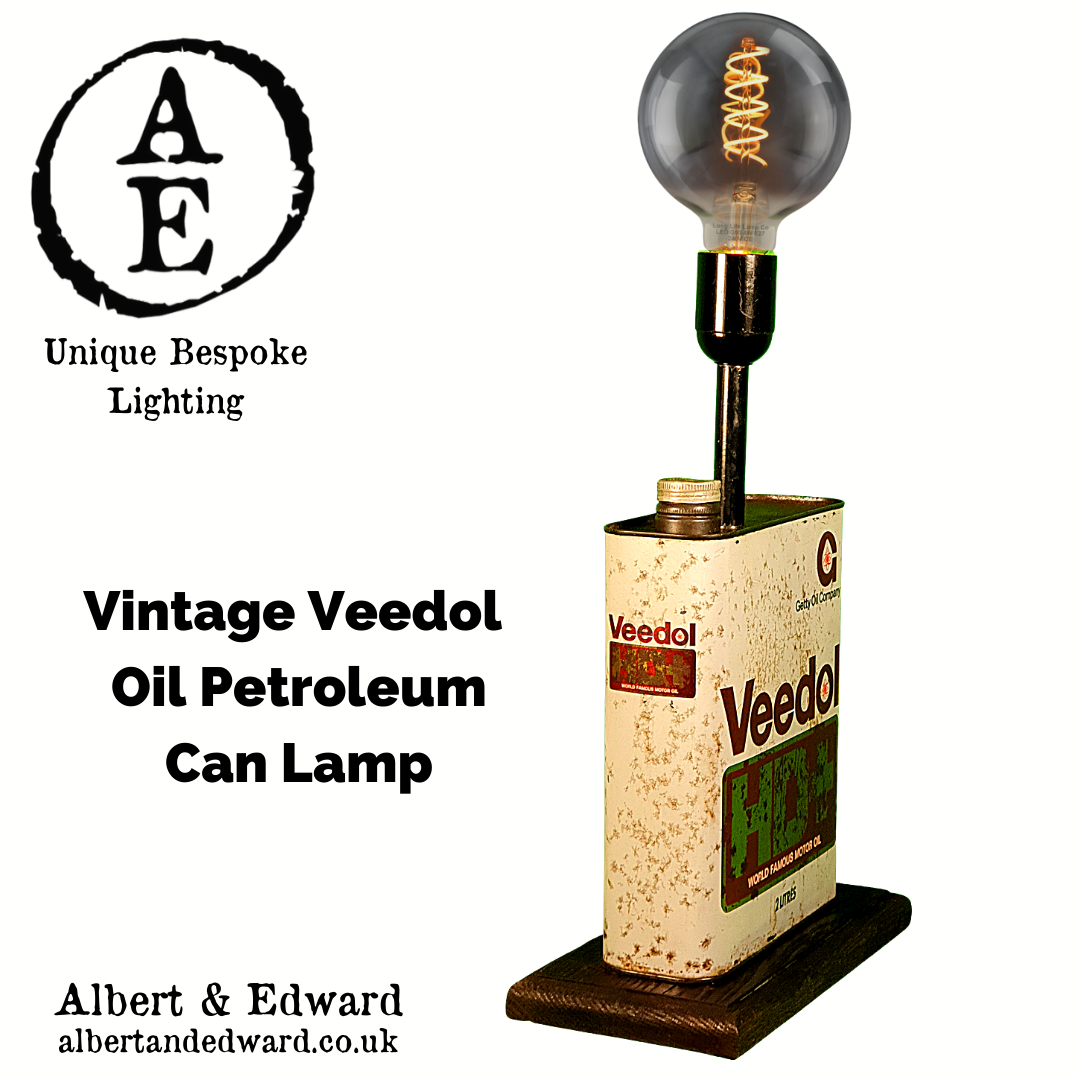 Vintage Veedol Oil Petroleum Can Lamp