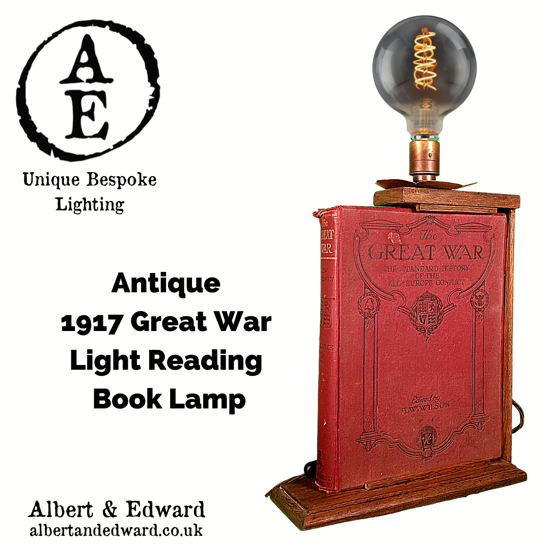 Antique  1917 Great War  Light Reading  Book Lamp