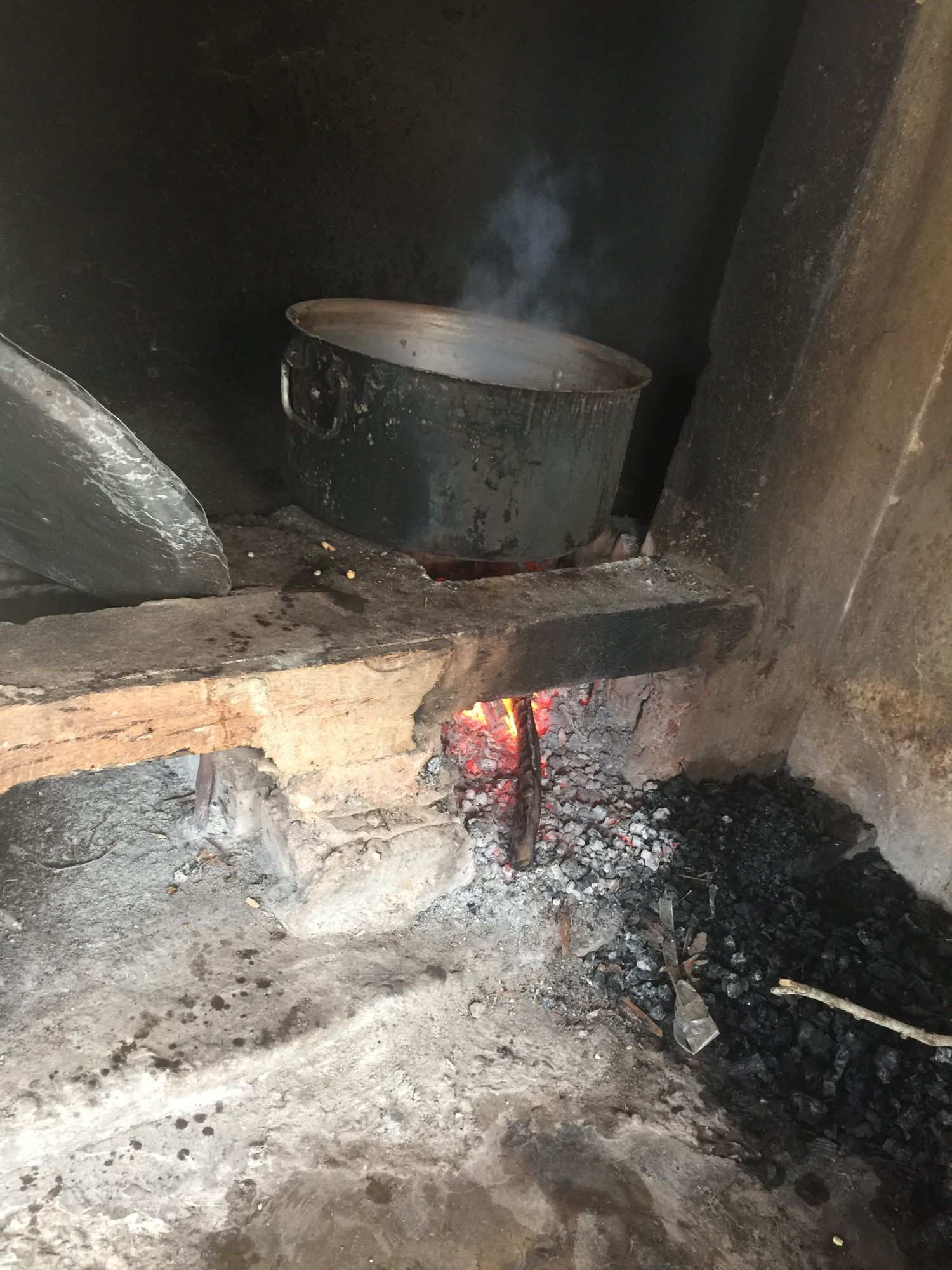 Lunch prepared on the wood burning stove