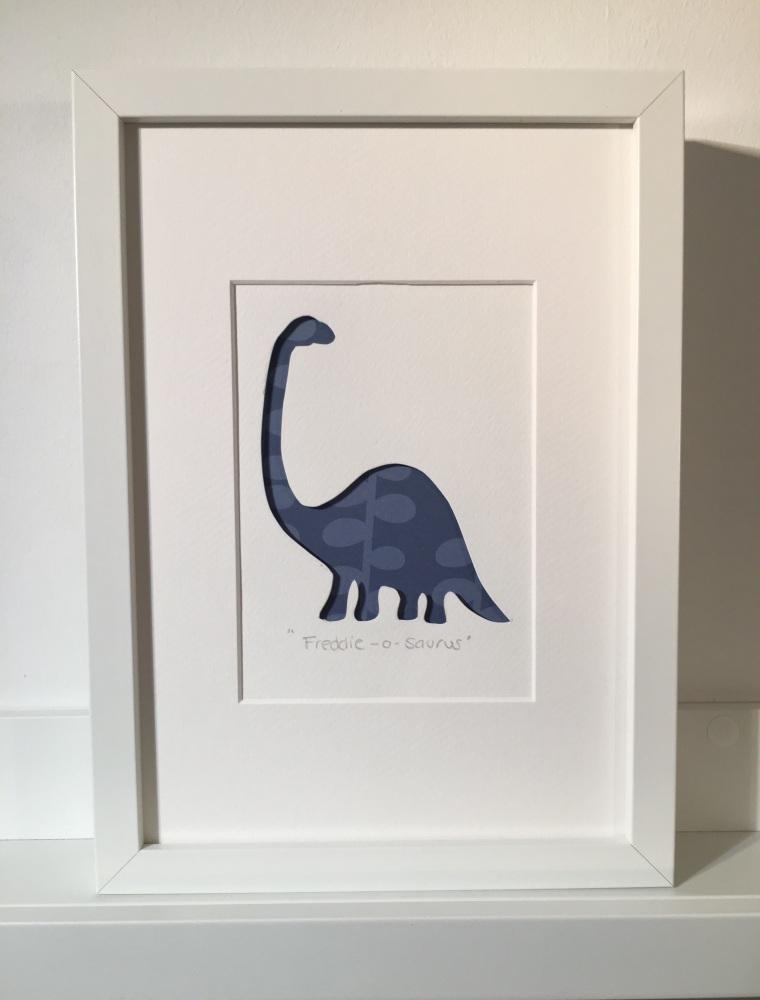 blue dinosaur large frame 23x32cm