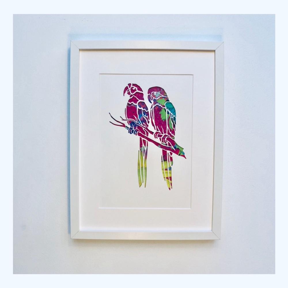 Parrots (Large frame 32x42cm)