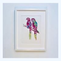 Parrots (extra large frame 42x52cm)