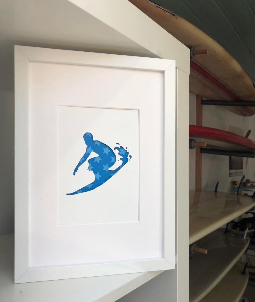 Surfing (medium frame 23x32cm)