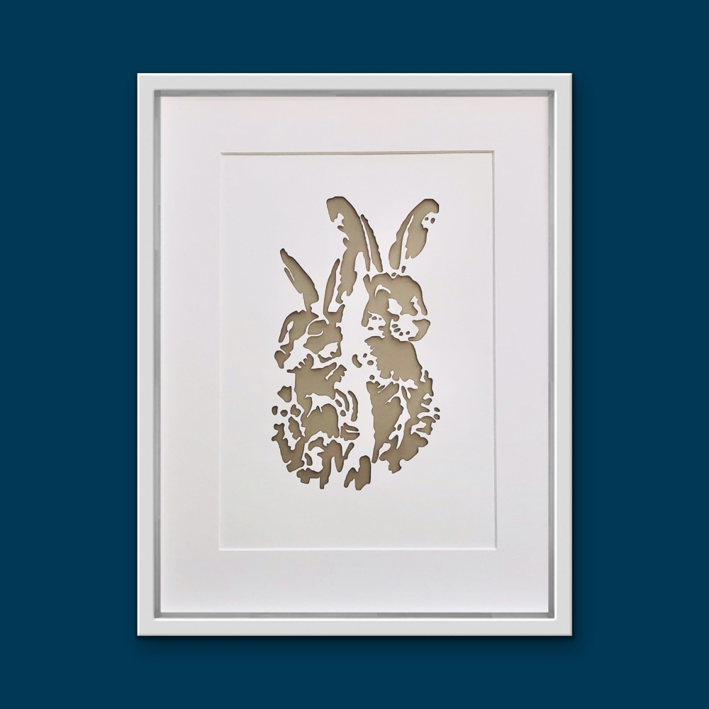Hares (extra large frame 42x52cm)