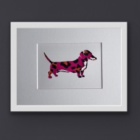 Dachshund Pink (Medium Frame 23 x 32 cm)