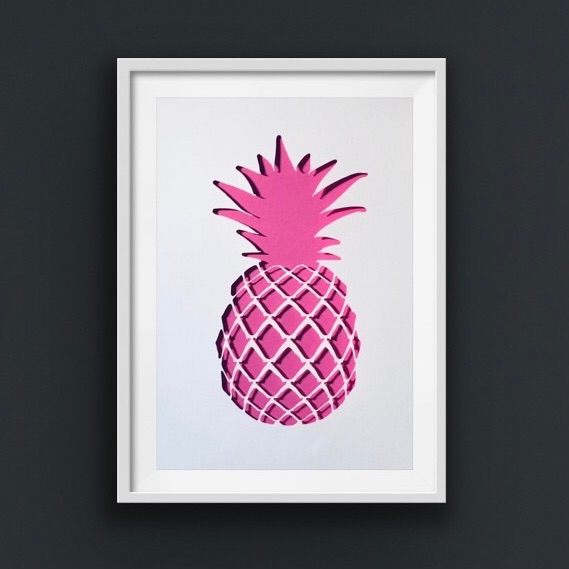 Pineapple Pink (large frame 42x32cm)