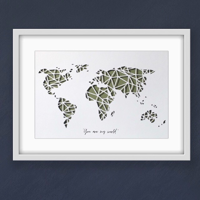 World Map - green (large frame 32x42cm)