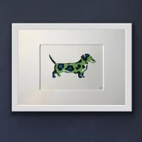 Dachshund Green (medium frame 23x32cm)