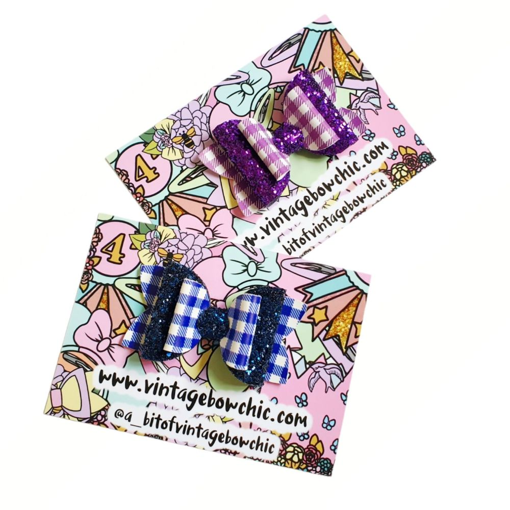 Gingham Bow Snap Clip