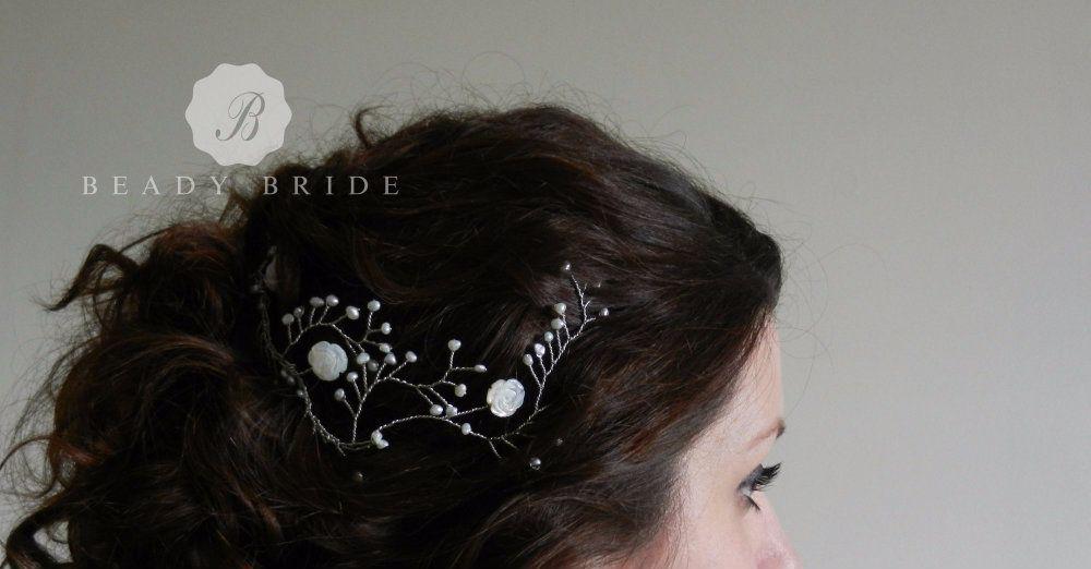 Spring Bride- Delicately designed using-white-cream-beads -hair vine -brida