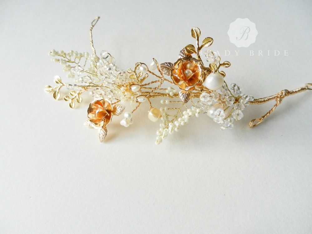 Rosea-Delicate- intricate bridal hair accessory-head piece by Beady Bride-U