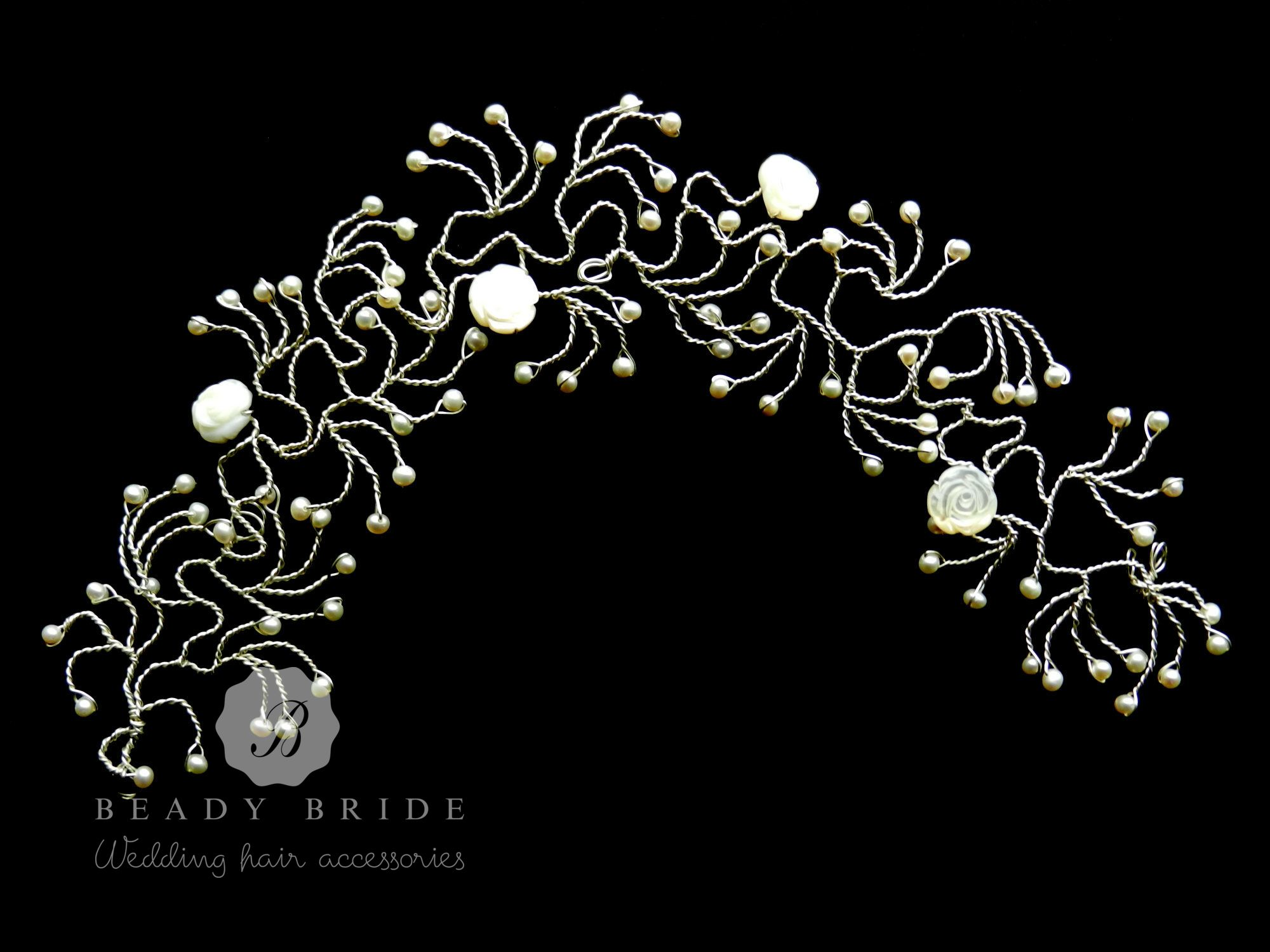 Intricate bridal hair vine accessory by Beady Bride-UK