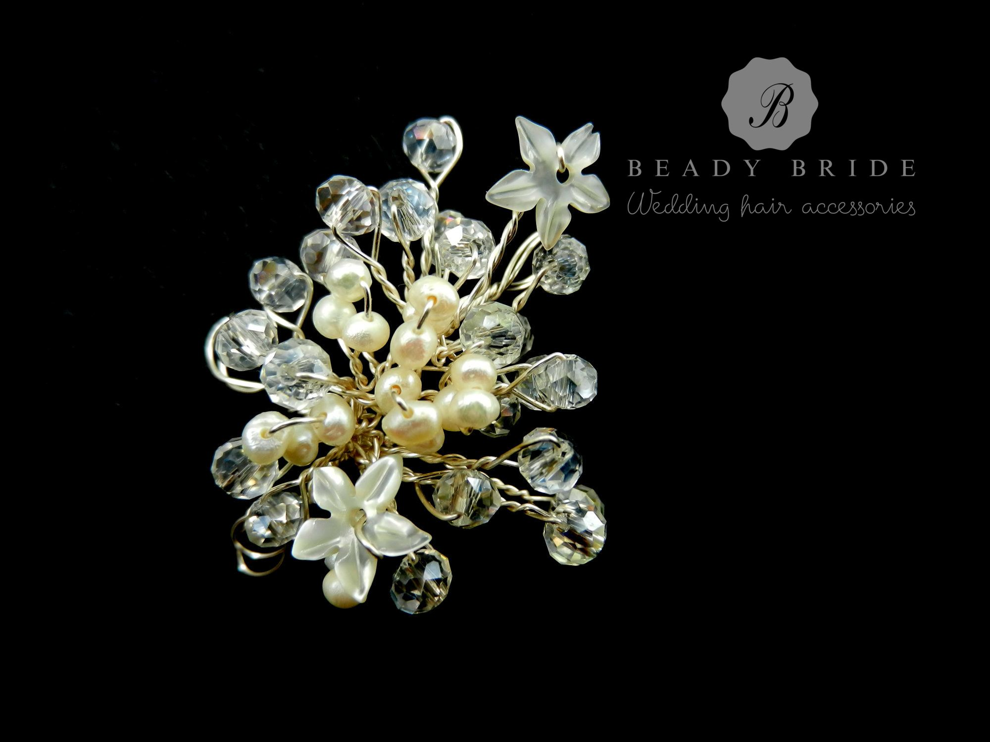 Crystal bridal hair pin accessories by Beady Bride-Gloucestershire-UK