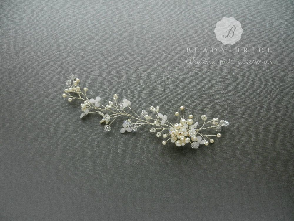 Snow drop petals-delicate bridal hair vine-1