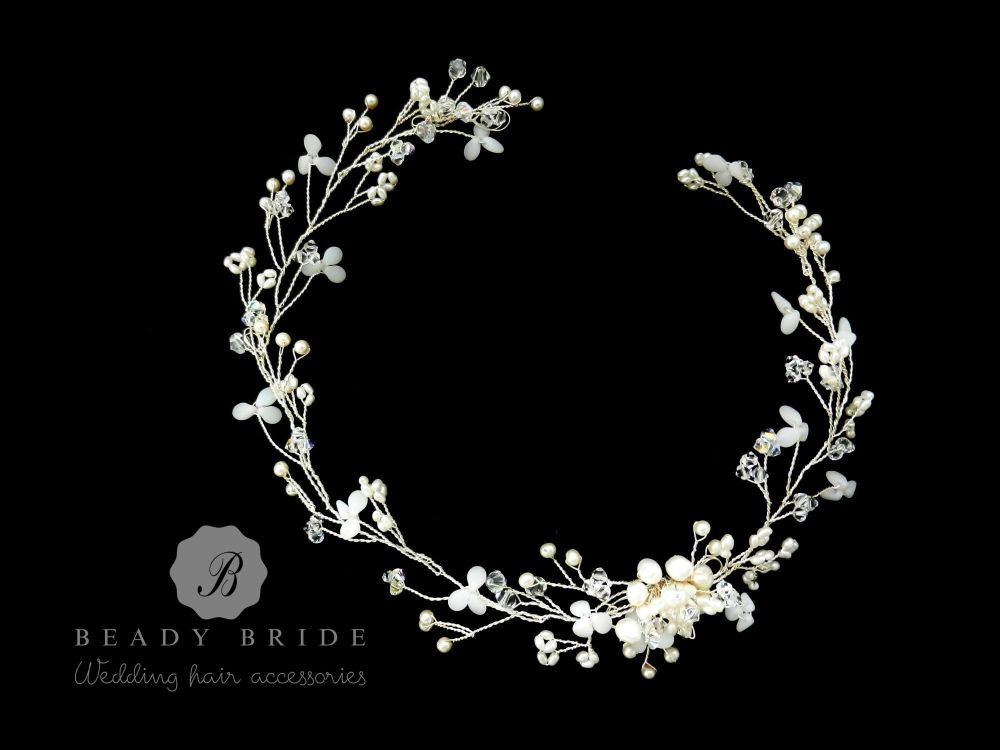Snow drop petals1-delicate bridal hair vine-1