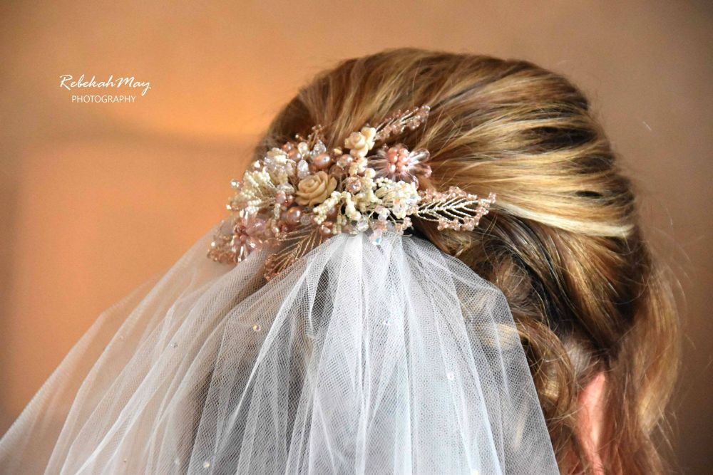 Pink Floral bridal hair accessory.1