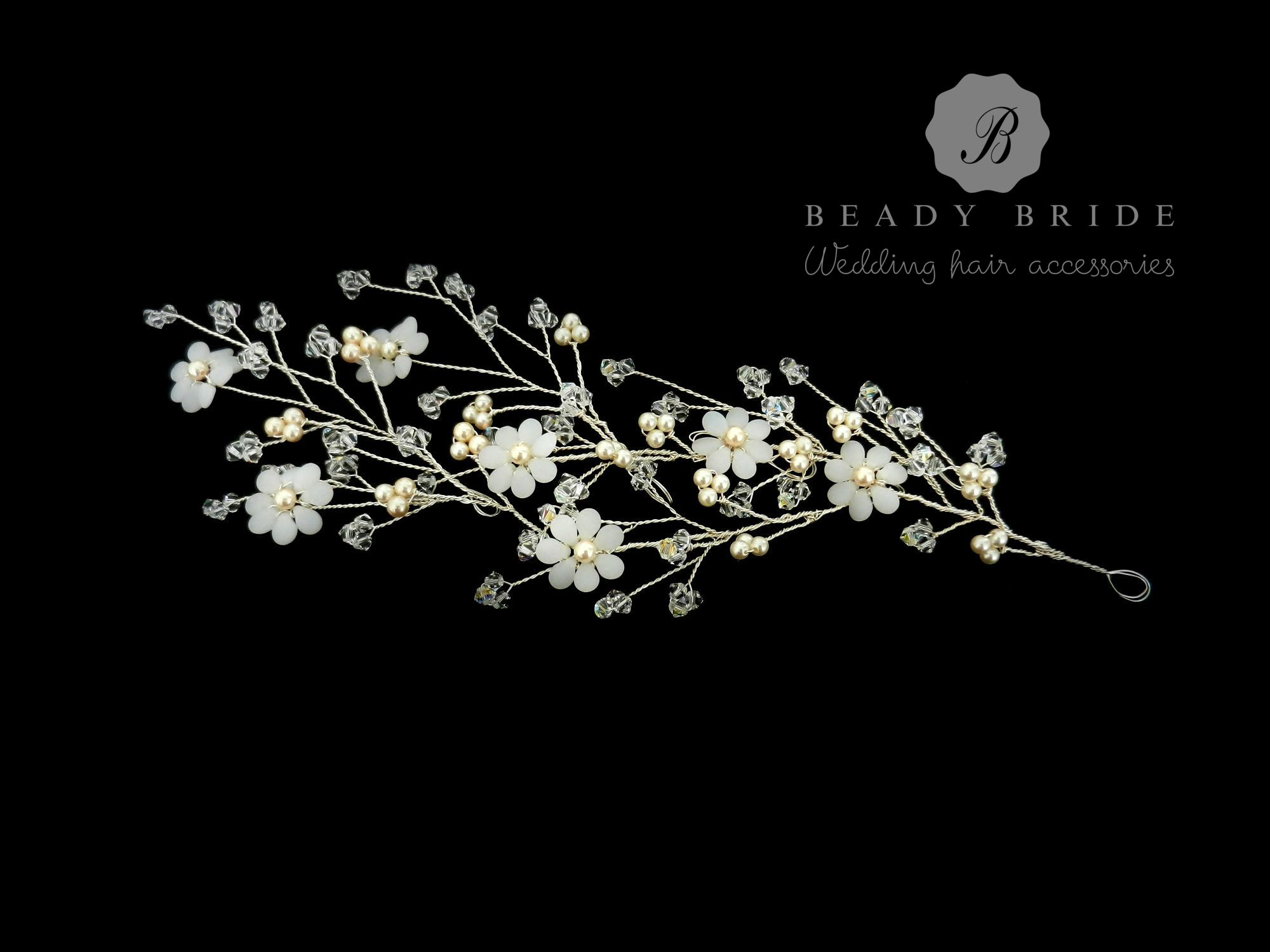 Dani-Floral branch hair vine accessory-by Beady Bride-UK