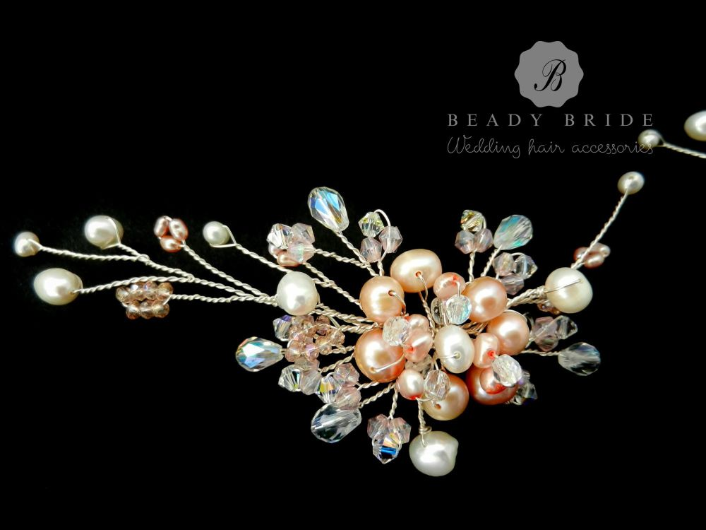 Pink3-Large-bridesmaids-hair-pin-accessory-by-Beady Bride-UK