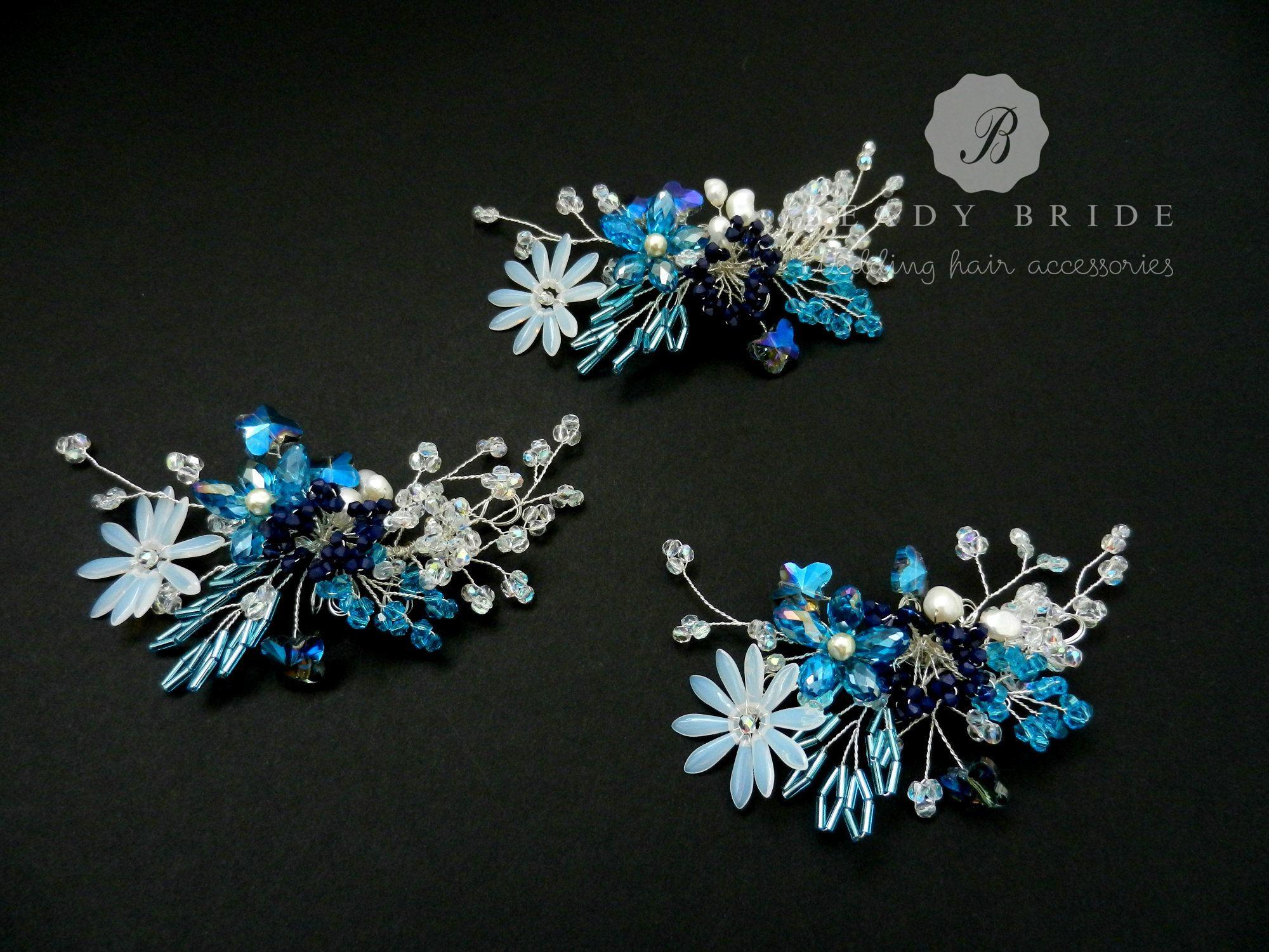 Joanna-blue bridesmaids hair accessory-by Beady Bride-UK