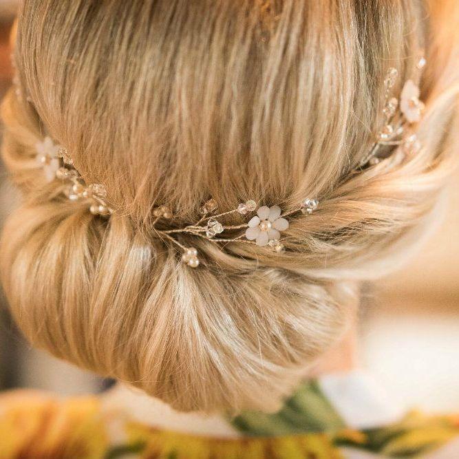 Opal white preciosa petal flower hair vine-0- 1-Lorraine1